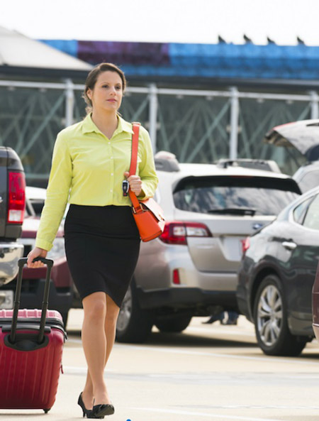 Woman walking at airport