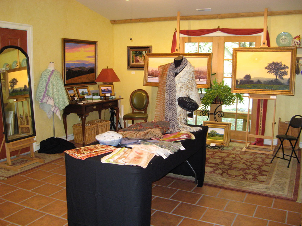 My Virginia studio used for a show for my paintings and Linda's fiber art.
