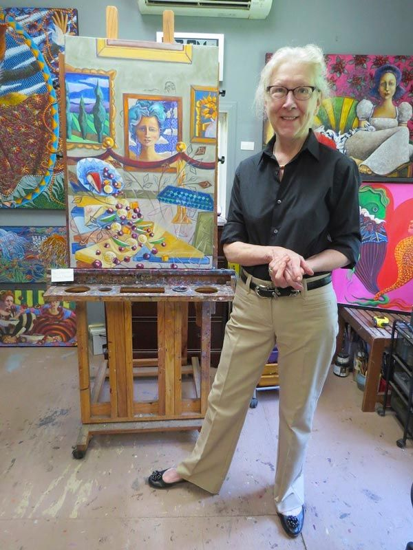 Judith Thompson in her studio