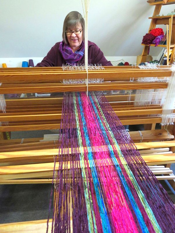 Jan Russell at her loom