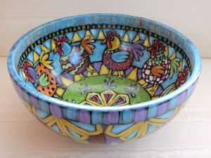 Painted bowl side Sarah Angle