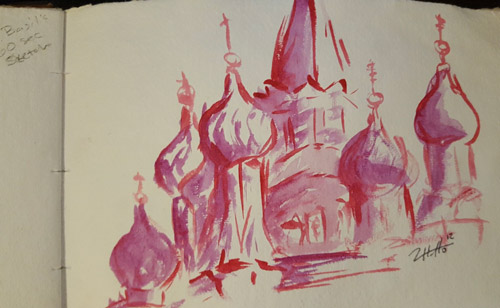 St. Basil's Cathedral, Moscow, painted sketch