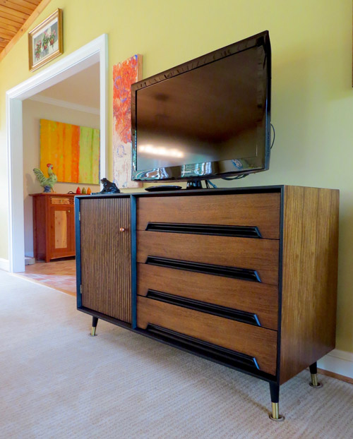 Our TV's new mid-century modern credenza.