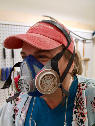 Photo of artist wearing protective gear