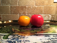 #6  Tomatoes on glossy decorative tray