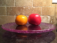 #7  Tomatoes on lavender glass plate
