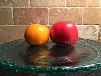 #8  Tomatoes on aqua glass plate